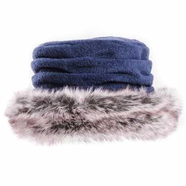 Fleece dames muts/hoed met nepbont blauw voor dames