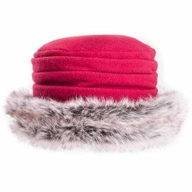 Fleece dames muts/hoed met nepbont rood voor dames