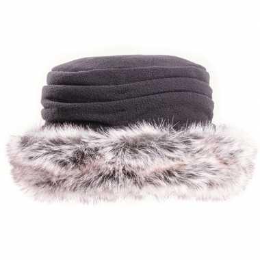 Fleece dames muts/hoed met nepbont zwart voor dames
