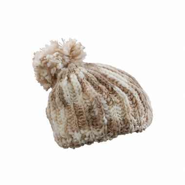 Naturel kleur winter dames muts met pompon