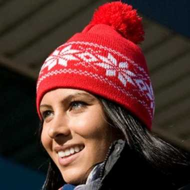 Rode Nordic sherpa dames muts