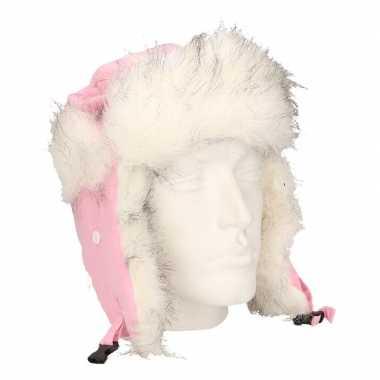 Roze bont dames muts met oorflappen voor dames
