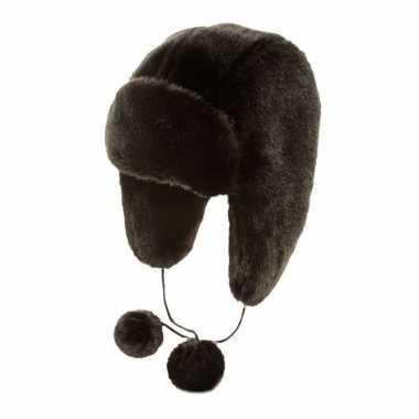Russische oorflappen dames muts met pompons zwart nepbont voor dames