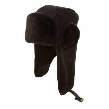 Russische oorflappen dames muts zwart wol voor volwassenen