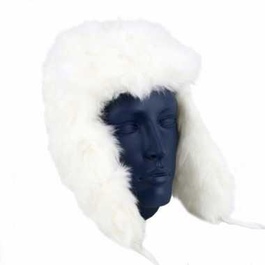 Witte russische bont dames muts polar