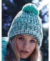 Grof gebreide winter dames muts blue twist voor volwassenen