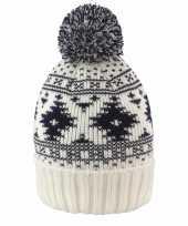 Noorse winter dames muts met pompon